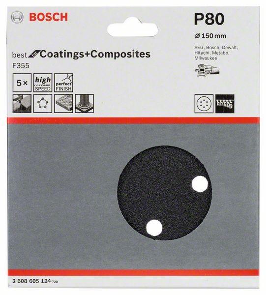 5er-Pack 80 Klett Bosch Schleifblatt F355 93 mm 6 Löcher