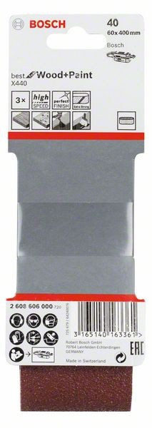 Schleifband-Set X440,für Bandschleifer, 3-teilig